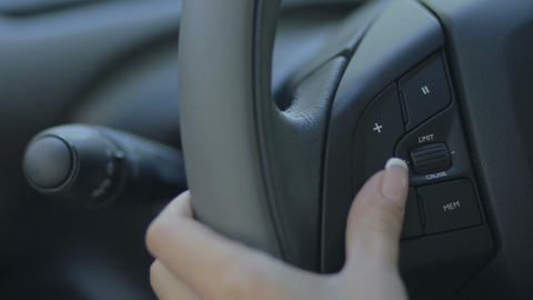 Sound audio control buttons on the steering wheel Footage
