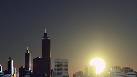 Abstract city skyline at sunrise time lapse 3D animation Footage