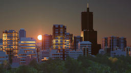 Abstract cityscape at sunrise time lapse 3D animation Footage