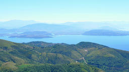 Corfu Kerkira Mountain water nature 4k video background. Hills, river lake gulf Footage