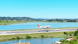 Corfu Kerkira Airport travel 4k video. Aircraft plane landing on runway Footage
