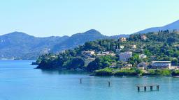 Greece Corfu island sea coast 4k video. Kanoni water gulf houses hills Footage