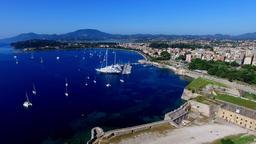 Old Fortress Marina harbor yachts boat Corfu castle, Greece 4k video Bay sea Footage