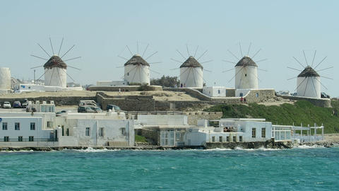Mykonos, Greece. Traditional windmills view from Little Venice (Alefkantra) area Footage