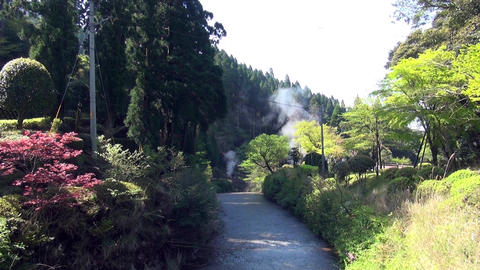 Steam rising from geothermal natural hot springs in Kirishima, Kagoshima Japan ビデオ