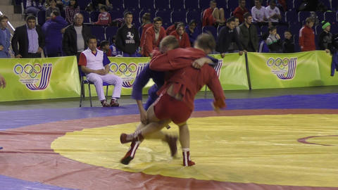 Orenburg, Russia - 13 March 2016: Boys competitions Sambo Live Action