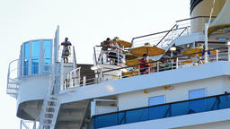 Passengers in terrace of big ship cruise watching the sunset Footage