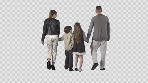Young family (father, mother, son, daughter) is walking from the camera Live Action