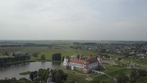 Circular aerial photography from quadcopter of the Mir Castle in Belarus, which Live Action
