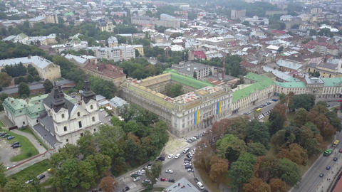 Church of St. Michael Barefoot Carmelite Church in Lviv view from above in slow Live Action