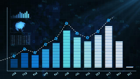 Annual report to shareholders with growth chart Animation