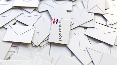 Letter with From Croatia text on pile of other Letters. International mail Live Action