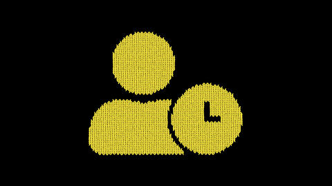 Symbol user clock is knitted from a woolen thread. Knit like a sweater Animation