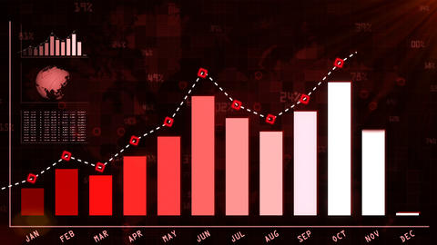 Growth graphic chart for annual year report red Animation