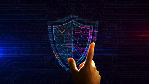 Cyber security with shield futuristic enetry into cyberspace animation Animation