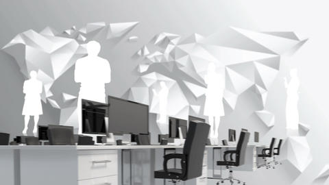 Office and silhouettes of man Animation