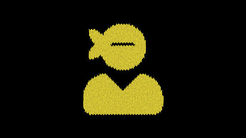 Symbol user ninja is knitted from a woolen thread. Knit like a sweater Animation