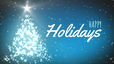 Illuminated Christmas tree, snowfall and happy holiday sign 4k Animation