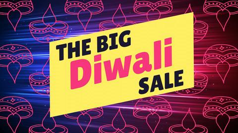 Diwali sale sign against Diwali lamp 4k Animation