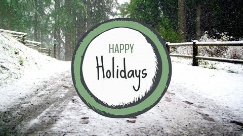 Happy holiday sign against snowfall on the bridge 4k Animation