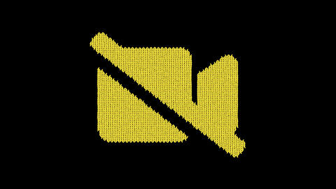 Symbol video slash is knitted from a woolen thread. Knit like a sweater Animation