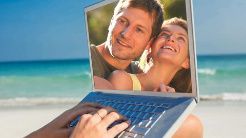 Woman using laptop with couple romancing 4k Animation