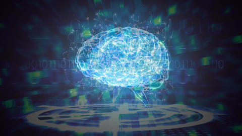Science Composition Animated brain colored in blue and green Animation
