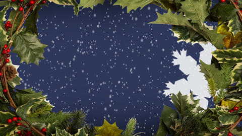 Christmas holly border and snowflakes Animation