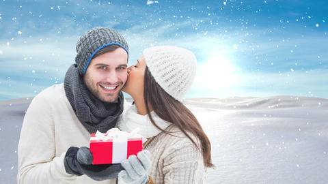 Winter couple with Winter snow landscape and gift Animation
