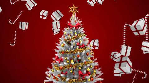 Christmas tree and falling Christmas gifts and candy Animation