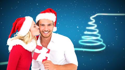 Christmas Winter couple with Christmas tree and gift Animation