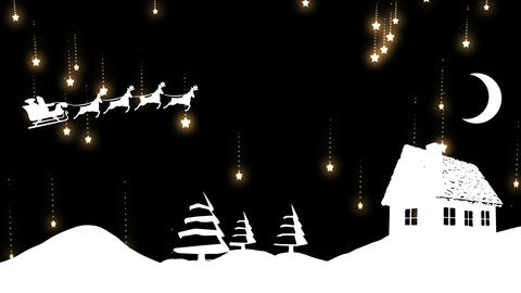 Santa silhouette flying over snow landscape with falling stars Animation