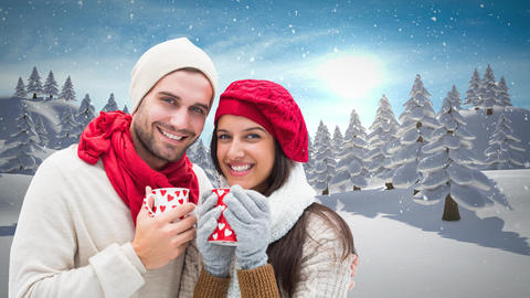 Winter couple drinking cups next to Christmas Winter snow Animation