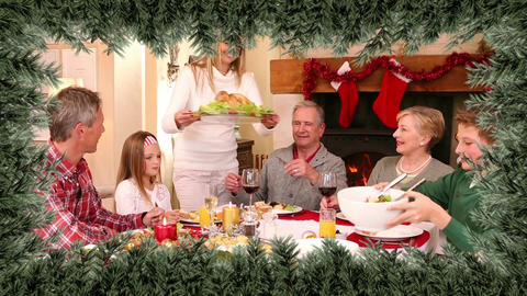 Christmas tree border with family dinner Animation
