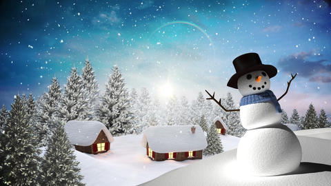 Snowman with Winter landscape Animation