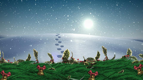 Christmas Holly wreath with bells and Winter landscape snowing Animation