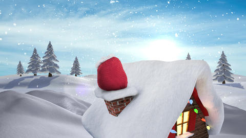 Santa presents in chimney in Winter snow landscape Animation