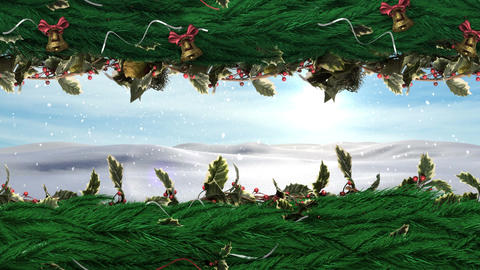 Christmas Holly wreath with Winter landscape Animation