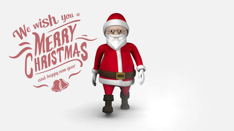 Merry Christmas and Happy New Year text with Santa walking Animation