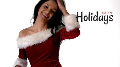 Happy holidays text and sexy Santa woman Animation