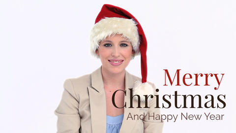 Merry Christmas and Happy New Year text and Santa businesswoman Animation