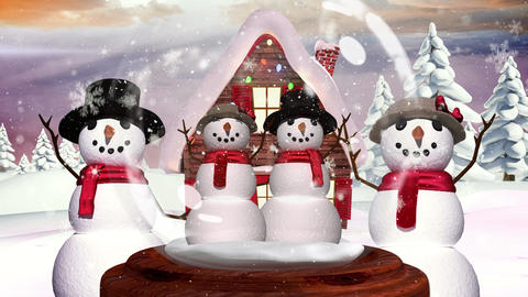 Cute Christmas animation of snowman family in magical forest 4k Animation