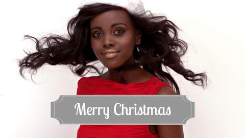 Merry Christmas text and Santa dressed beautiful woman Animation
