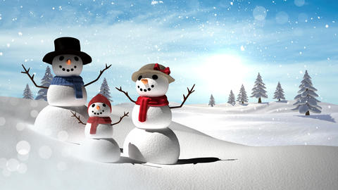 Snowmen family with Christmas Winter landscape Animation
