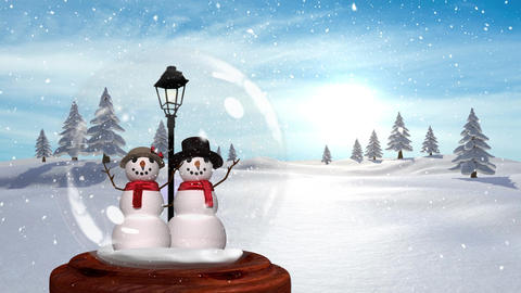 Cute Christmas animation of snowman couple in magical forest 4k Animation