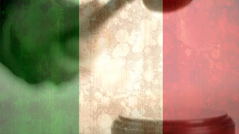 Digitally composite of grunge Italian Flag and gavel 4k Animation