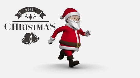 Merry Christmas text with Santa Animation