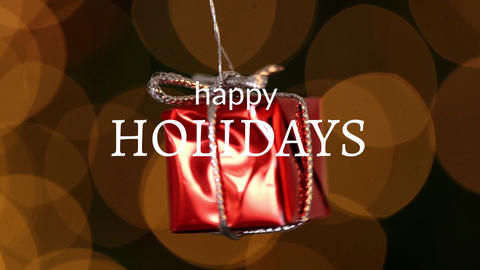 Happy holidays text and Christmas gift decoration Animation