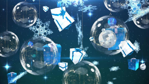 Christmas baubles and falling gifts and snowflakes Animation