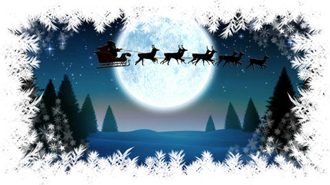 Santa flying in sleigh with reindeer and Christmas tree border with Winter landscape Animation